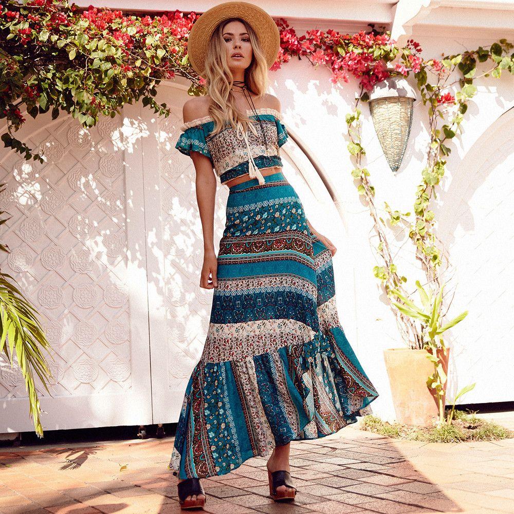 Khale Yose été 2 pièces ensemble femmes Floral imprimé deux pièces bohème jupe costume Hippie Boho Chic haut court plage ensembles vêtements