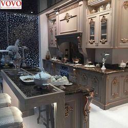 Твердая деревянная кухонная мебель с золотой росписью дизайн