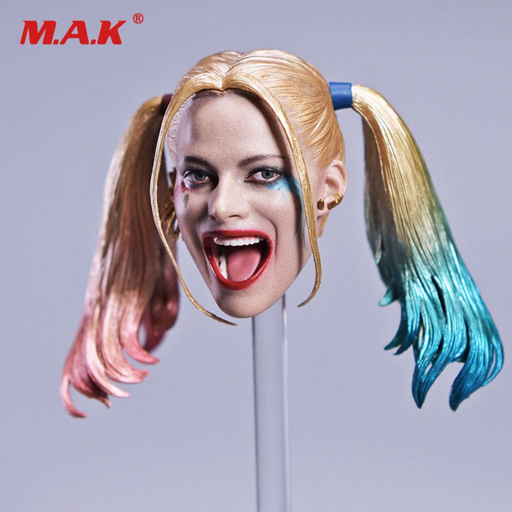 1/6 Scale Female Joker Harley Quinn Head Carving with Changeable Hair Movable Head Carved for 12'' Action Figure Body