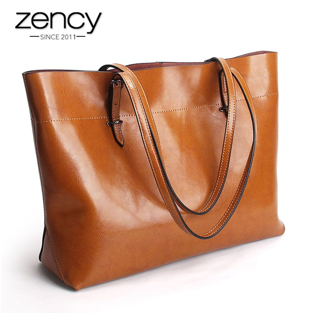 2018 New Style Brown Women Handbag 100% Genuine Leather <font><b>Female</b></font> Shoulder Purse Ladies Black Tote Bag Large Capacity Shopping Bags