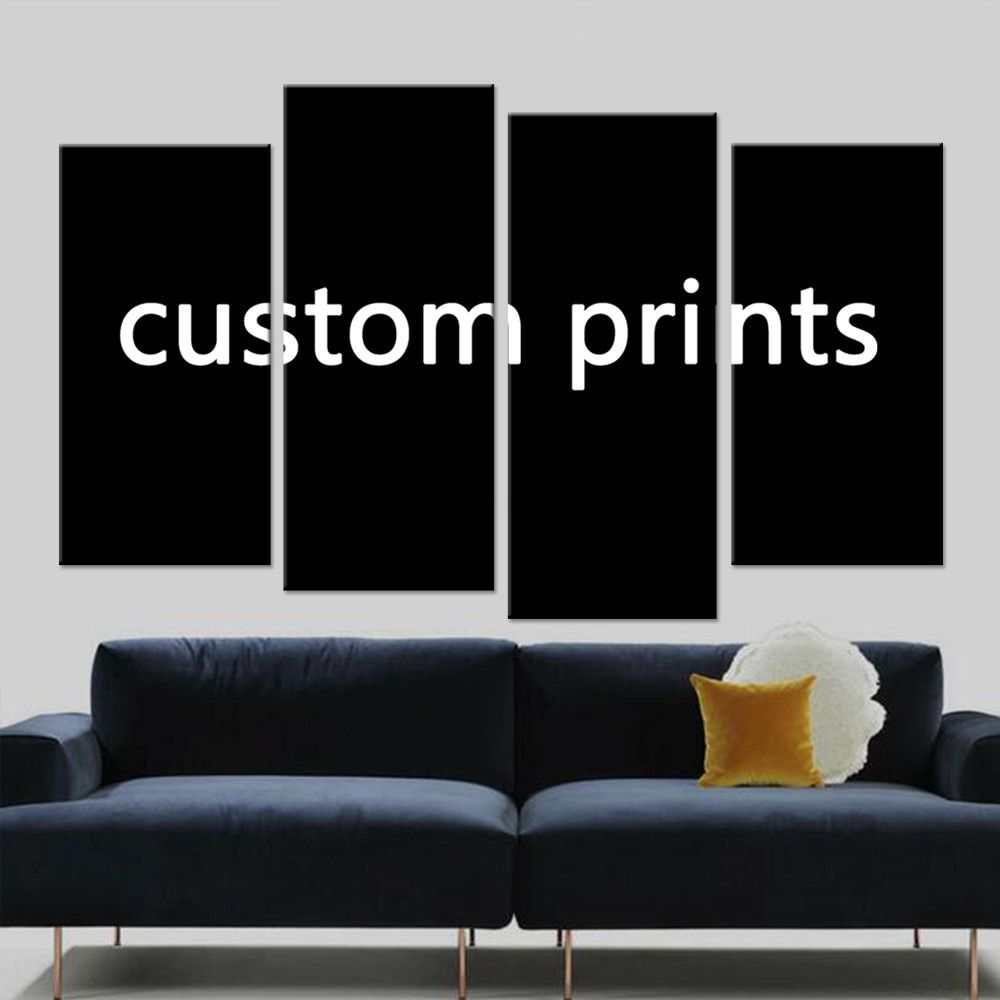 Canvas Prints Painting 4 Pieces Custom Made Pictures <font><b>Drop</b></font> Shipping PENGDA