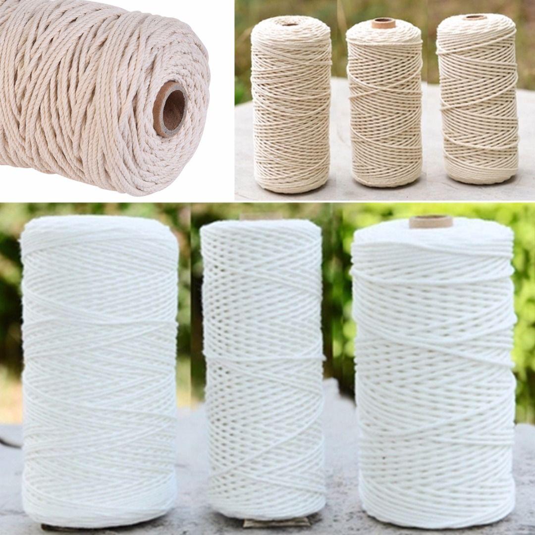 1pc 100% Natural Cotton Twisted Cord 1/2/3mm Diameter 200m/400m Length For DIY Craft Macrame Artisan String