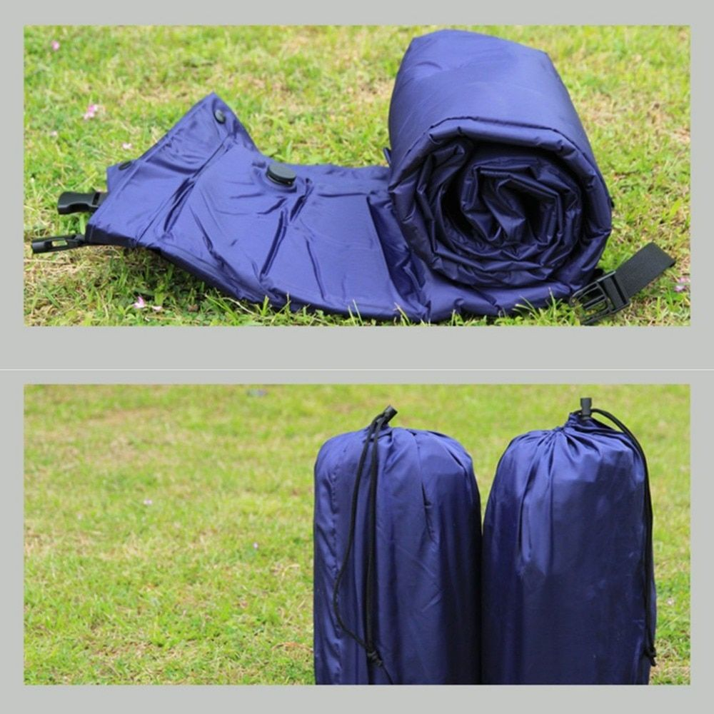 Portable Foldable Automatic Inflatable Sleeping Mat Outdoor Camping Lightweight Waterproof Pad Tents Mats Cushion with Pillow