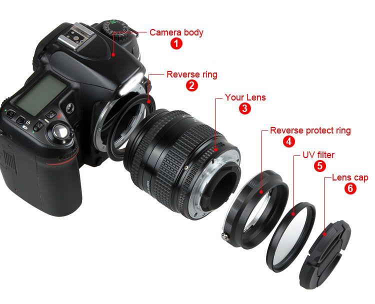 Macro Objectif N ° Adaptateur Protection Ensemble pour Nikon D90 D3300 D3400 D5200 D5300 D5500 D7000 D7100 Réinstallé 52mm UV filtre