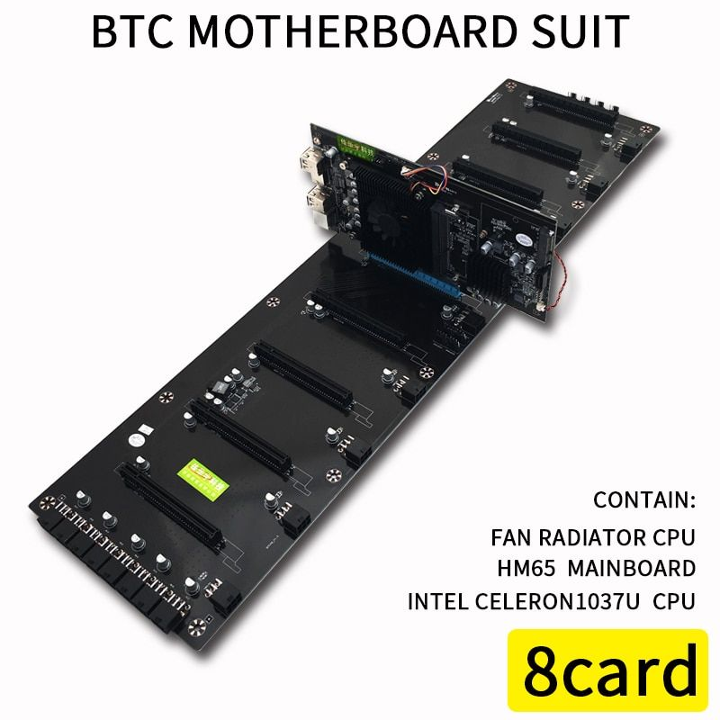 620*170mm 8 Cards BTC Computer Motherboard For Inter HM65 ATX DDR3 Professional mainboard 8 PCI-E Slots Mining Motherboard