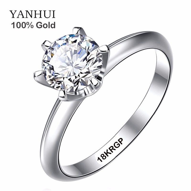 Réel Bague En Or Pur 18 18KRGP Cachet original Anneaux Set 1 Carat CZ Diamant De Mariage anneaux Pour Les Femmes ANNEAU TAILLE 4 5 6 7 8 9 10 11 SR168