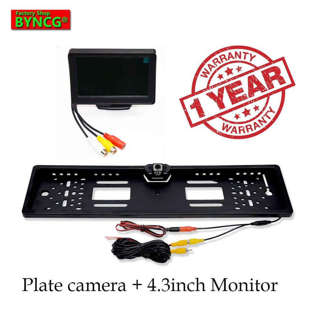BYNCG moniteur de voiture 2019 nouveau 170 européen plaque d'immatriculation cadre voiture vue arrière caméra 12 LED universel CCD infrarouge LED vision nocturne