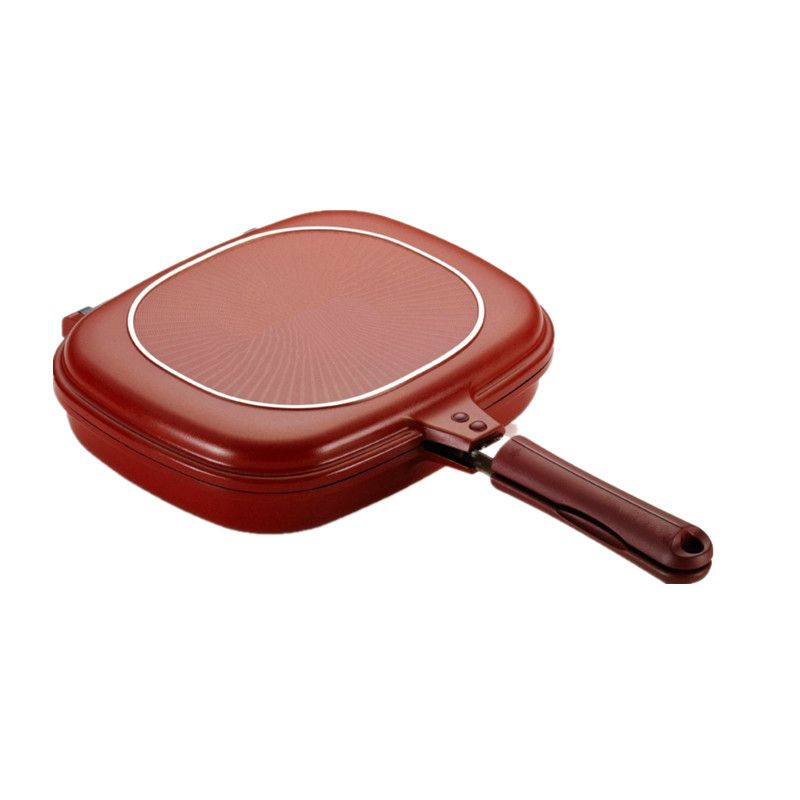 High quality 28cm Size Pan Double Side Grill Fry Pan Cookware Double Face Pan Steak Fry Pan Pancake outdoor Kitchen supplies