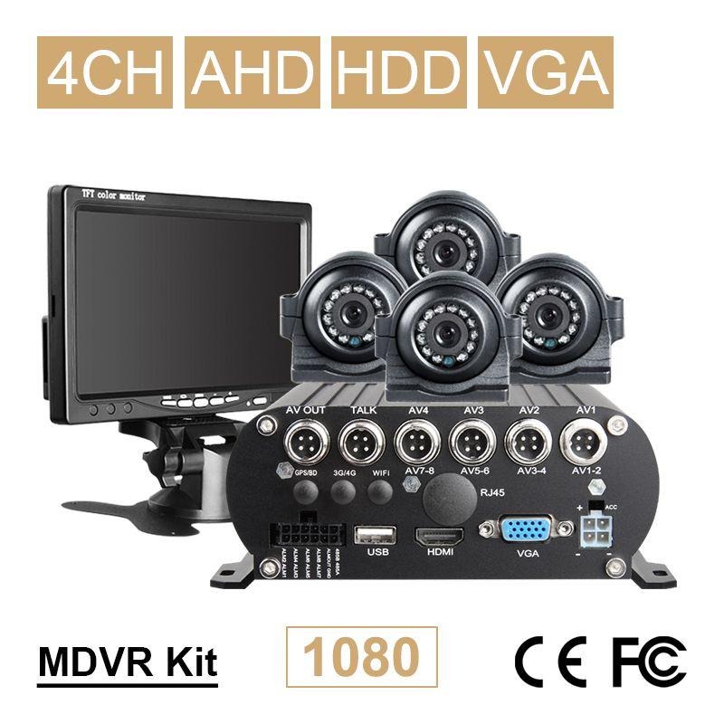 VGA Monitor + 4 PCS Front/Seite Metall Kamera + AHD 4CH Festplatte Mobile Dvr Recorder Kits Für fahrzeug Bus Taxi Van Video Wiedergabe I/O