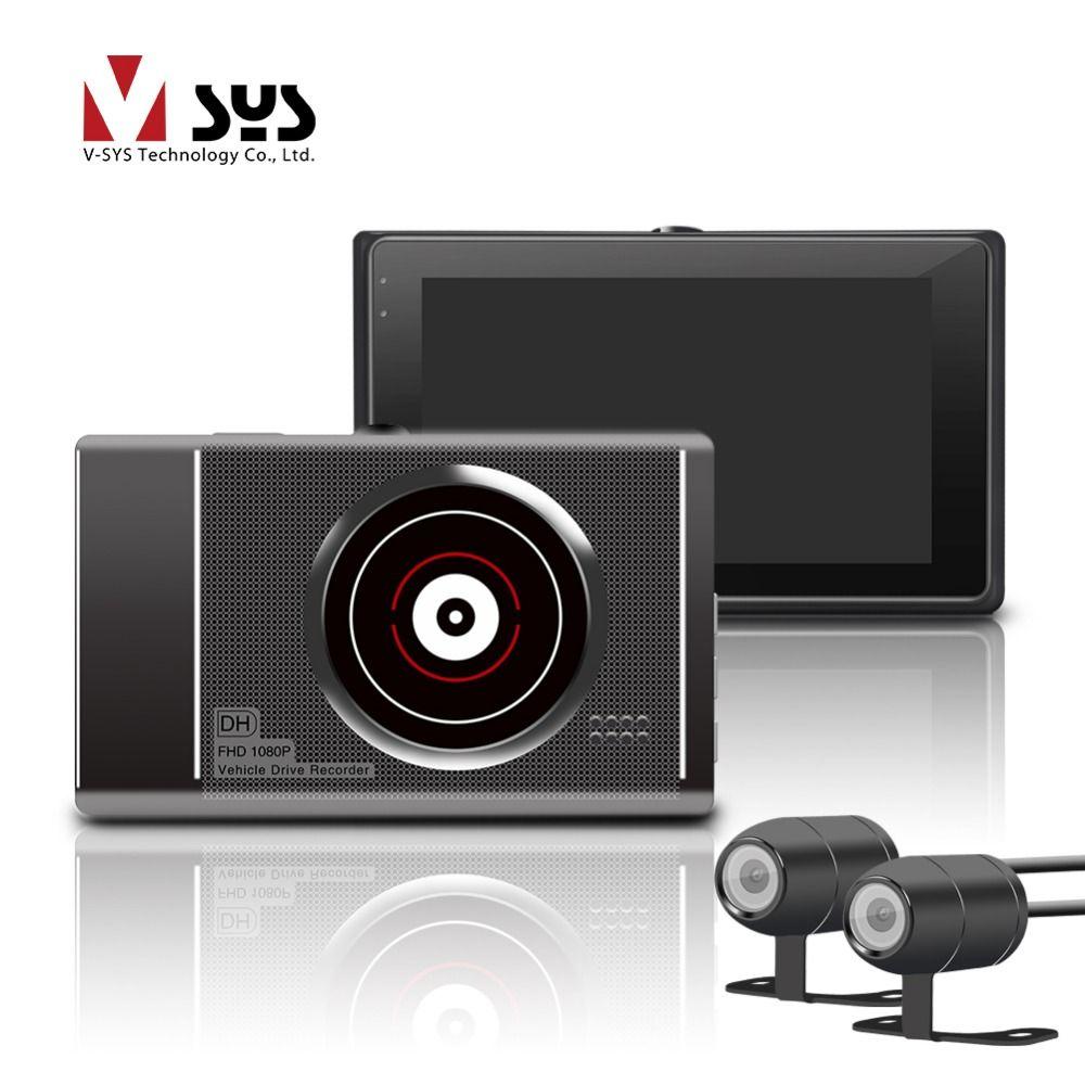 VSYS T2 Mise À Niveau M1L/M1 WiFi Avant 1080 P Full HD Moto Caméra DVR + HD 720 P Vue Arrière Caméra Enregistreur Dash Cam Noir boîte