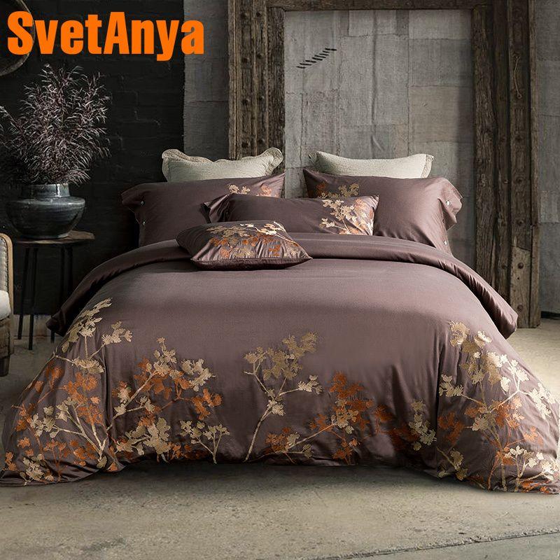 Svetanya tree Embroidered Bedlinen Queen King Size Egyptian Cotton Duvet Cover Bedsheet Pillowcase Bedding Set