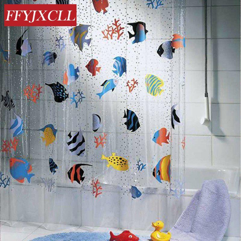 180*200cm PVC Transparent Tropical Fish Bathroom shower curtain Mildew Proof thick waterproof fabric bathroom door curtain
