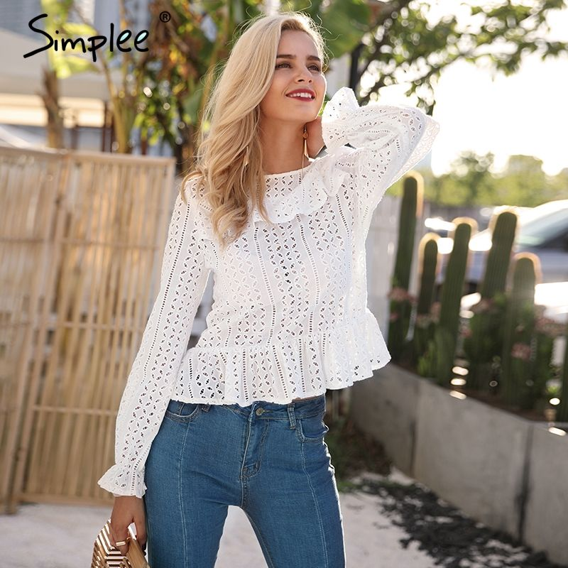 Simplee <font><b>Hollow</b></font> out long sleeve white blouse shirt 2018 Spring sexy female blouse women top Elegant backless button blusas