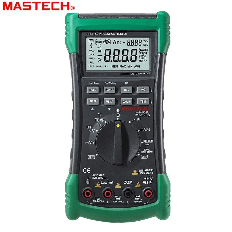 3 in 1 MS5208 6600 Counts Digital Multimeter+Insulation Resistance tester+Megger tester True RMS AC Voltage Current Temperature