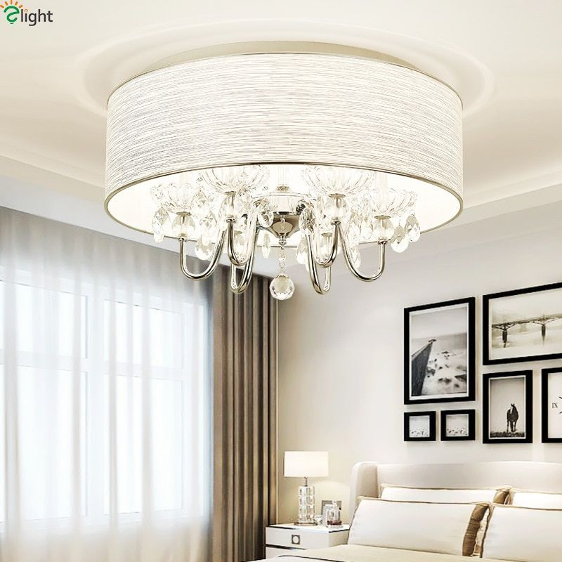 Modern Lustre Crystal Led Ceiling Lights Chrome Metal Dining Room Led Ceiling Light Living Room Round Led Ceiling Lamp Fixtures