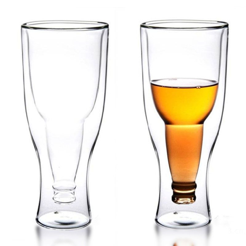 1 pc 350ml Creative Upside Down Double Wall Inverted Beer Mug Beer Glass Drinking Bottle Beer Steins Party Bar Drinkware
