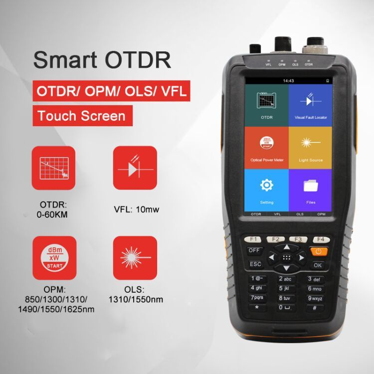 OTDR Tester Optical Time Domain Reflektometer 4 in 1 OPM OLS VFL Touchscreen 3m zu 60km Reichweite optische Instrument fibra optica