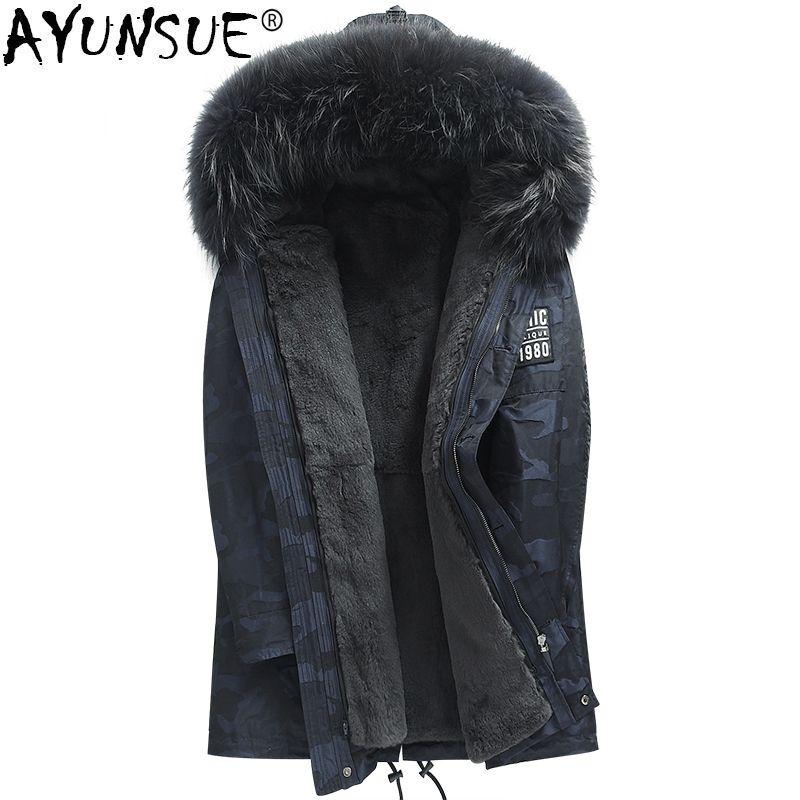AYUNSUE Real Fur Coat Men Natural Rex Rabbit Fur Liner Camouflage Winter Jacket Raccoon Fur Collar Long Parka Plus Size KJ844