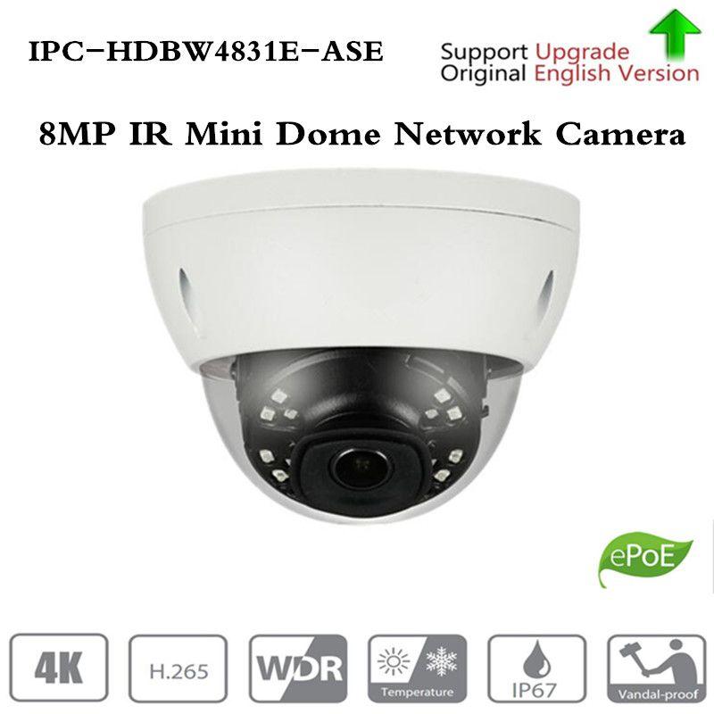 Original ahua IPC-HDBW4831E-ASE 8MP Mini Dome Netzwerk IP Kamera Smart Erkennen Alarm Audio in/out 30 mt IR Micro SD H.265 WDR IP67