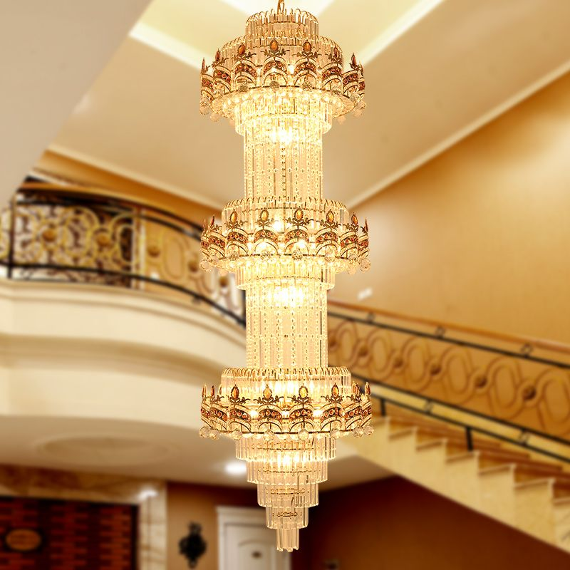 Lustre Stair Chandelier K9 Gold Crystal Chandelier Modern Led Chandeliers Lighting Hotel Villa Lobby Mall Aisle Engineering