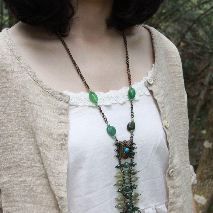 Непал Тибетский этнические Винтаж ювелирные изделия оптом зеленый звено цепи ожерелье для женщин