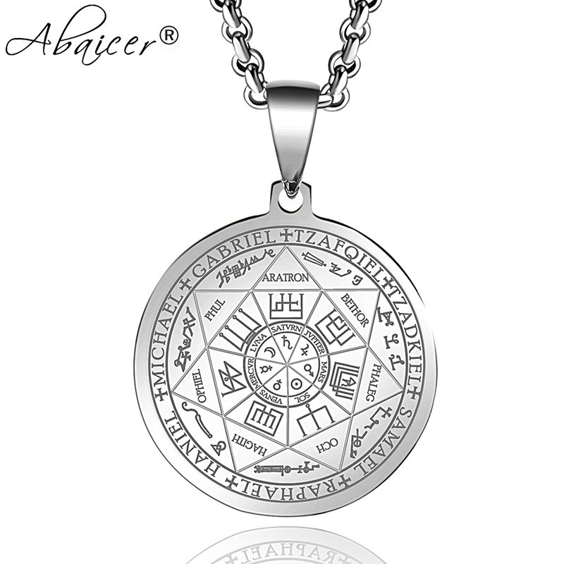 Abaicer Seals Of The Seven Archangels Pendant Choker Statement Silver Stainless Steel Necklace For Women Dress Accessories