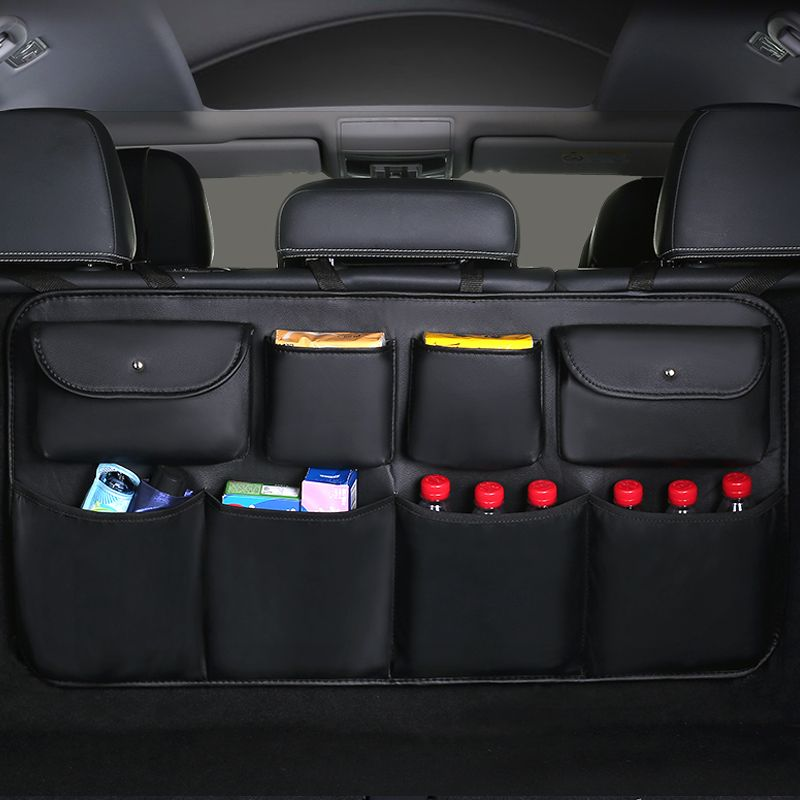 2019 New PU leather Car Rear Seat Back Storage Bag Multi-use Car Trunk Organizer Auto Stowing Tidying Auto Interior Accessories