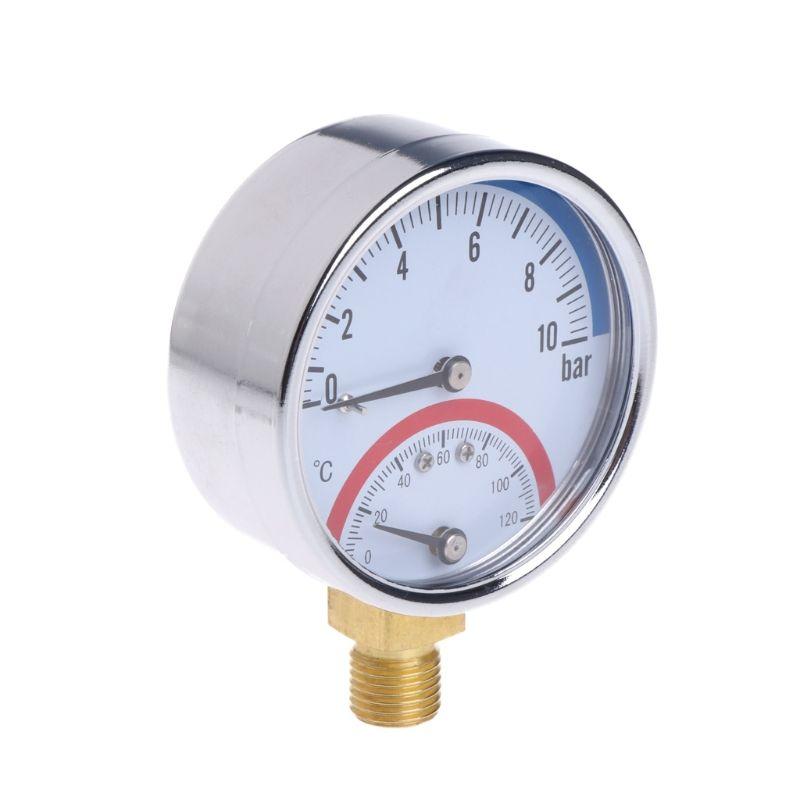 10 Bar Temperature Pressure Gauge Meter G1/4 Thread 2 in1 Thermometer Monitor