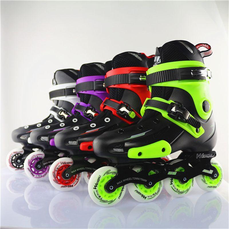 WEIQIU 5166 Inline Skate Erwachsene Rollschuh Schuhe PU Inline Skates 4 Farben Professionelle Turnschuhe Für Straße Skating Männer frauen