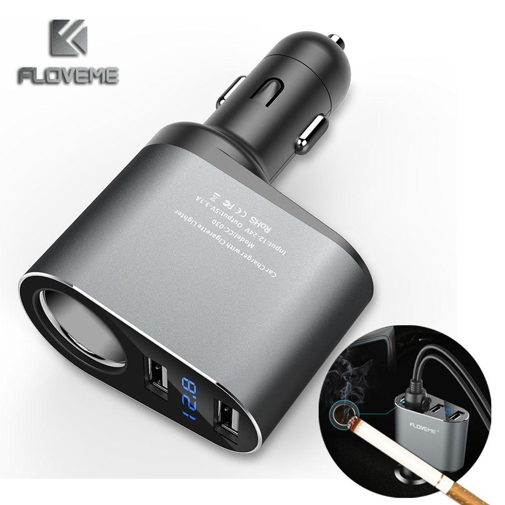 FLOVEME Double USB Chargeur De Voiture 5 V 2.1A Pour Xiaomi iPhone Universel Téléphone Chargeur De Voiture Pour Mobile Téléphone De Voiture-chargeur Cool Adaptateur