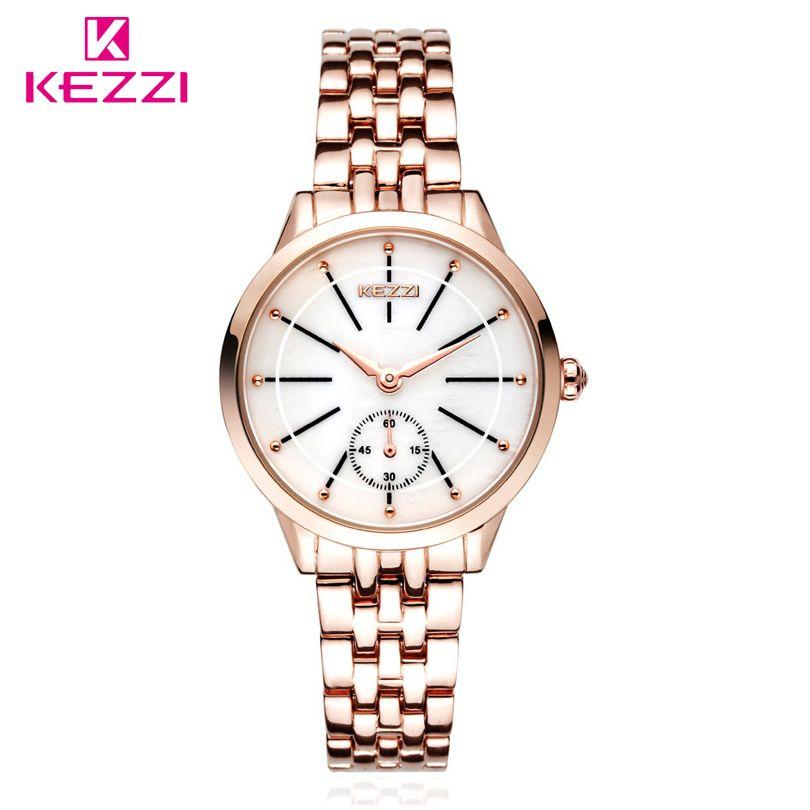 KEZZI Марка Леди Кварцевые часы Для женщин модные классические часы независимые секунд циферблат Высокое качество Нержавеющаясталь браслет...