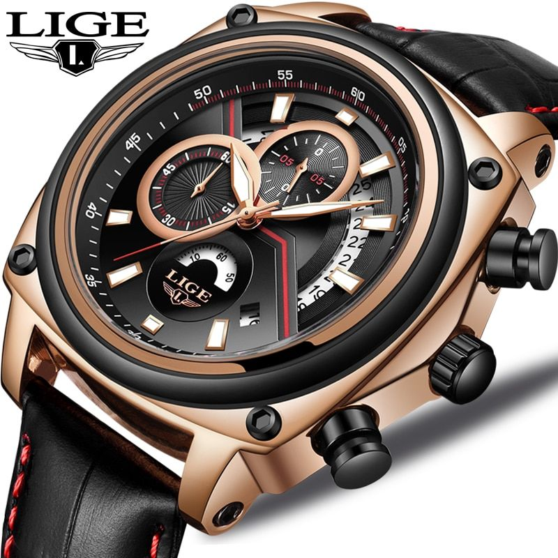 2018 LIGE Relogio Masculino Men Watch Casual Fashion Top Luxury Brand Sport Watch Men Military Waterproof Leather watches