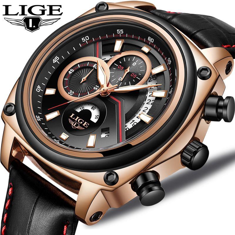 2018 LIGE Relogio Masculino Men Watch Casual Fashion Top Luxury Brand Sport Watch Men Military Waterproof Leather watches