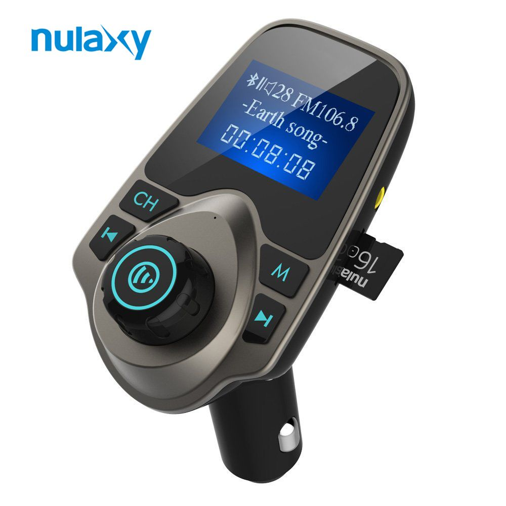 Nulaxy Car MP3 <font><b>Player</b></font> Bluetooth FM Transmitter Hands-free Car Kit Audio MP3 Modulator W 1.44 Inch Display 2.1A USB Car Charger