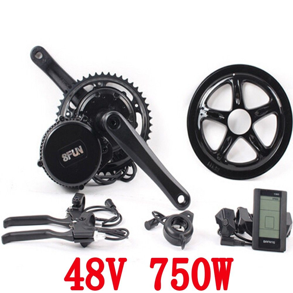 free shipping 48v 750w 8fun/bafang motor C965 LCD BBS02 latest controller crank Motor eletric bicycles trike ebike kits