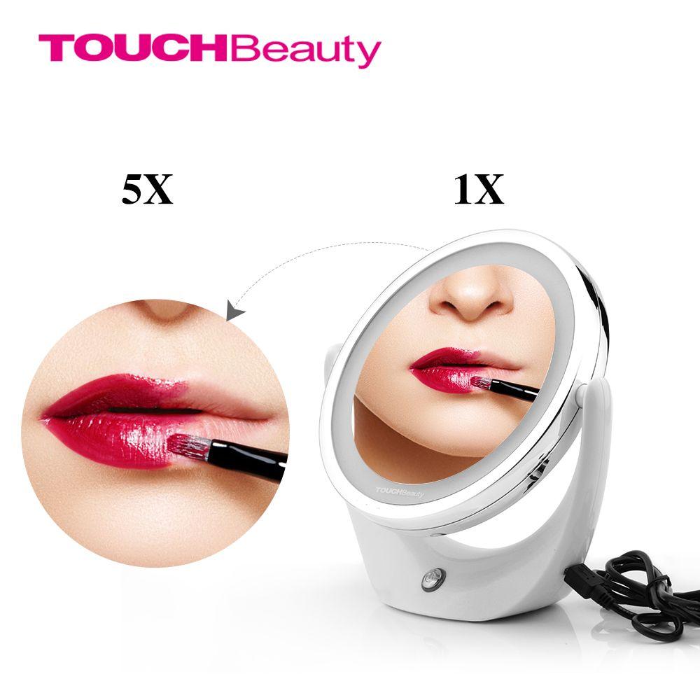 TOUCHBeauty lumière LED miroir cosmétique double face 1X et 5X, 360 rotatif, miroir de maquillage rechargeable USB TB-1276
