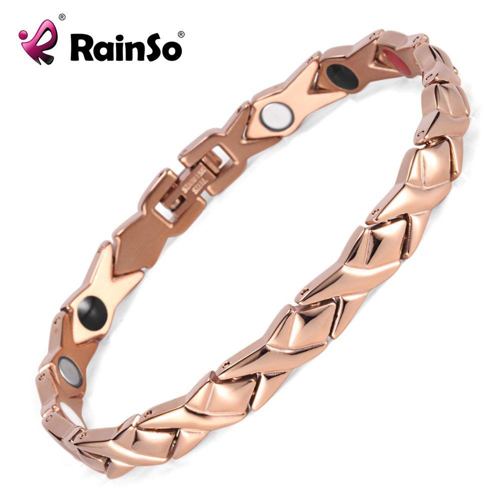 Rainso acier inoxydable Lettre forme énergie santé bracelet 4 dans 1 magnétique germanium sain bracelet pour les femmes