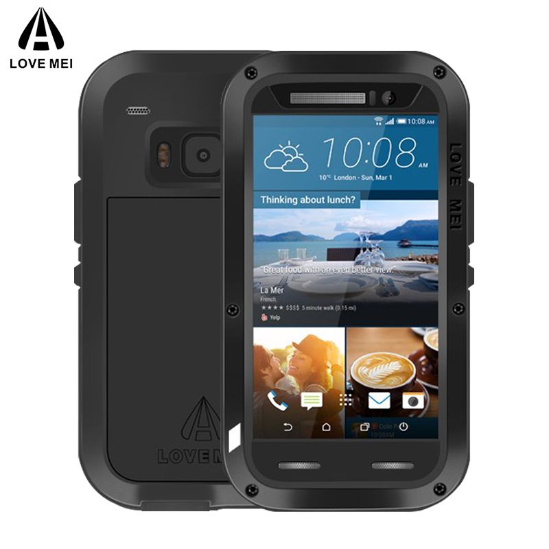 LOVE MEI Aluminum Metal Case For HTC One M9 Cover Powerful Armor Shockproof Life Waterproof Case For HTC M9 Capa + Gorilla Glass