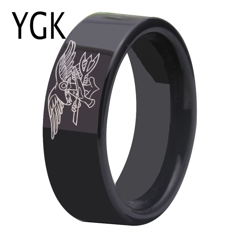 Free Shipping USA UK Canada Russia Brazil Hot Sales 8MM Black Pipe Navy Seals Military Design Men's Tungsten Comfort Fit Ring