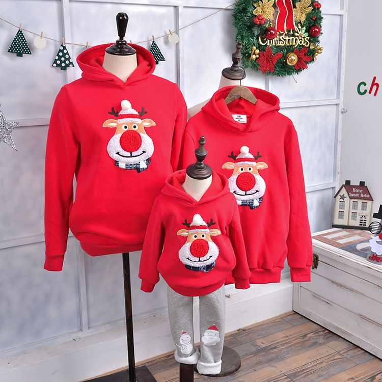 Family Matching Outfits 2018 Winter Christmas Sweater Cute Deer Children Clothing Kid T-shirt Add Wool Warm Family Clothes P003