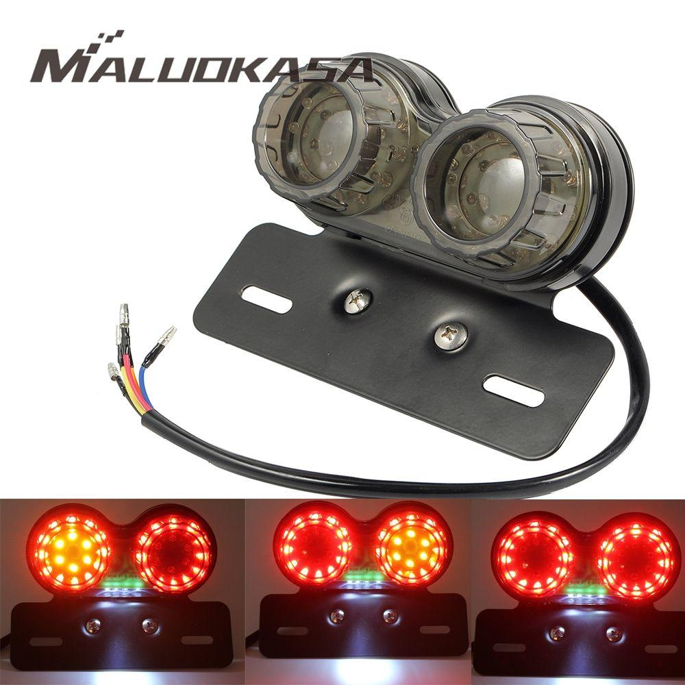 MALUOKASA Motorcycle Taillight Turn Signal Indicators Custom Motorbike Rear Stop Lamp Brake Light Cafe Racer Flashing Lamp