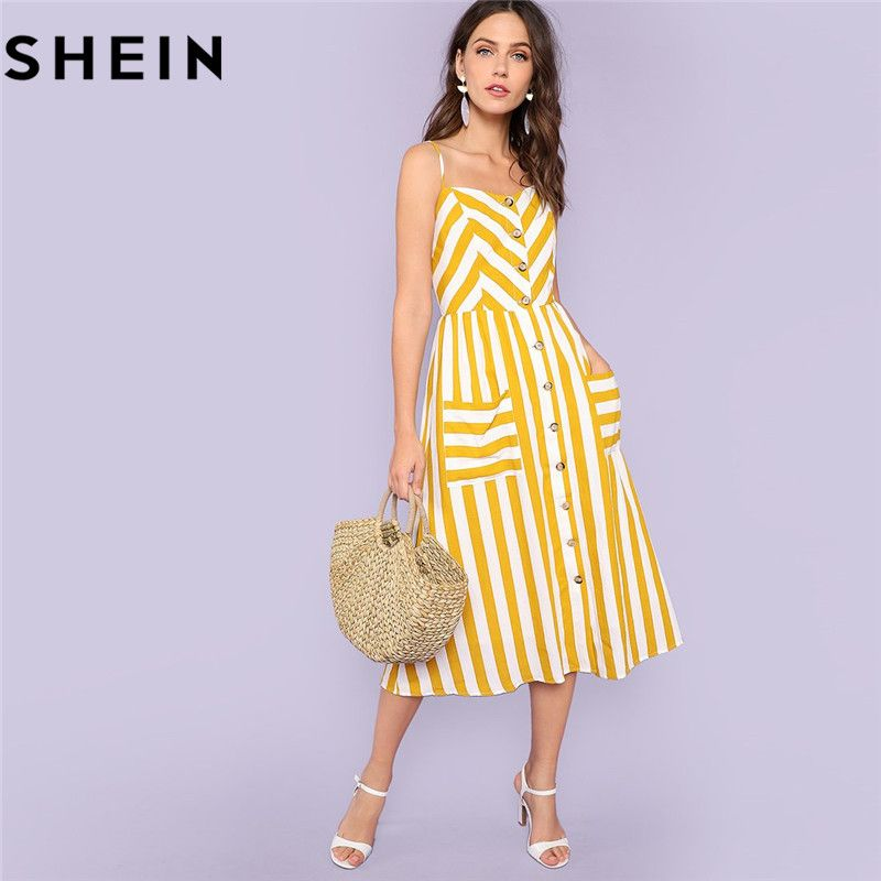 SHEIN Striped Spaghetti Strap High Waist Mid-Calf Dresses Women 2018 Summer Vacation Beach Button Up Pockets Front Cami Dress