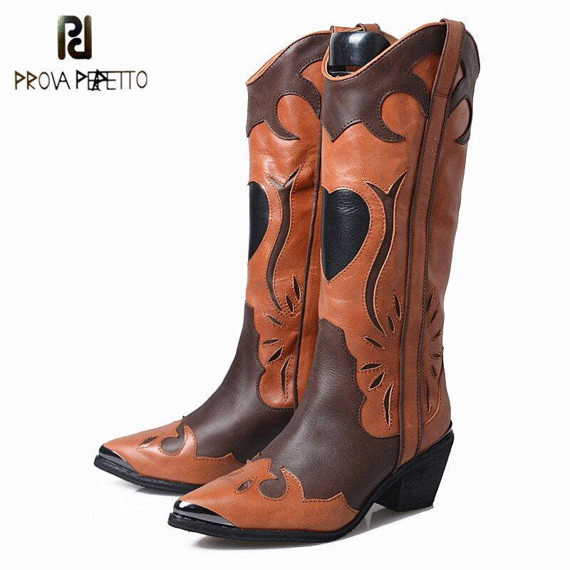 Prova Perfetto 2018 New Style Cow Suede Leather Slip-on Long Knight Boots Mixed Colors Pointed Toe Thick Heel Fashion Woman Boot