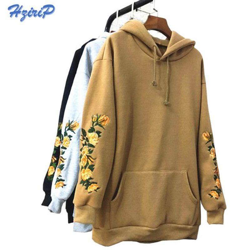 2017 New American Apparel Hooeded Sweatshirt Women Elegant Embroidery Flowers Long-sleeved Pullover Fashion High Quality Hoodies