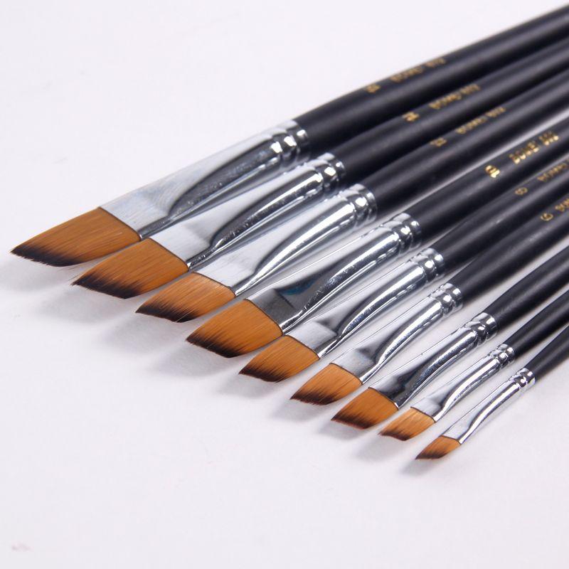 Pinceau de peinture à l'huile acrylique en Nylon 9 pièces/ensemble pinceau de peinture Oblique pour stylo de brosse acrylique à l'huile pincel para pintura Art fournitures 802
