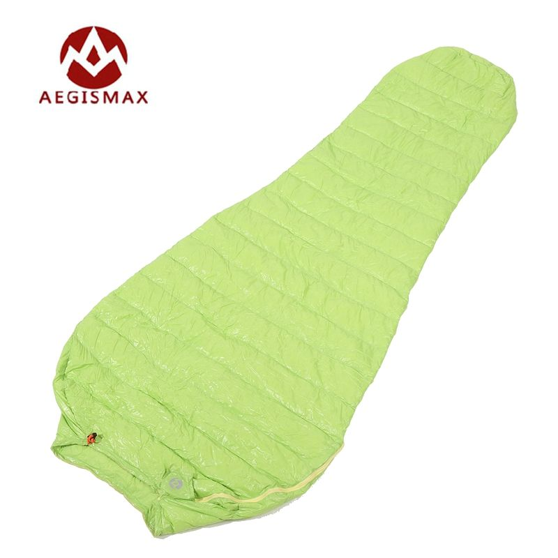 Aegismax sac de couchage momie ultra-léger allongé en duvet d'oie blanc Camping en plein air cousu à travers noir et vert 200x80 cm