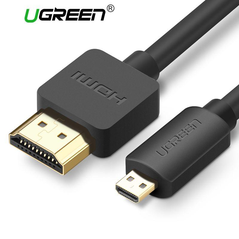 Ugreen Micro HDMI zu HDMI 2,0 Kabel 2 mt 3 mt 3D 4 Karat Stecker-stecker Hohe Premium vergoldet HDMI Adapter für Telefon Tablet HDTV Kamera PC