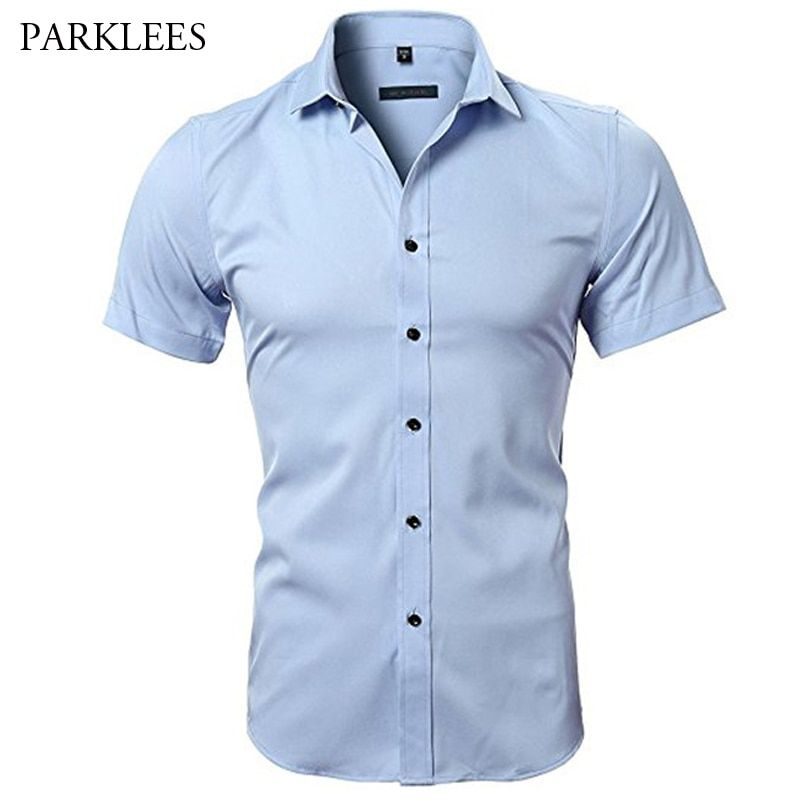 Blue Bamboo Fiber Shirt Men 2018 Summer Short Sleeve Mens Dress Shirts Casual Slim Fit Easy Care Solid Non Iron Chemise Homme