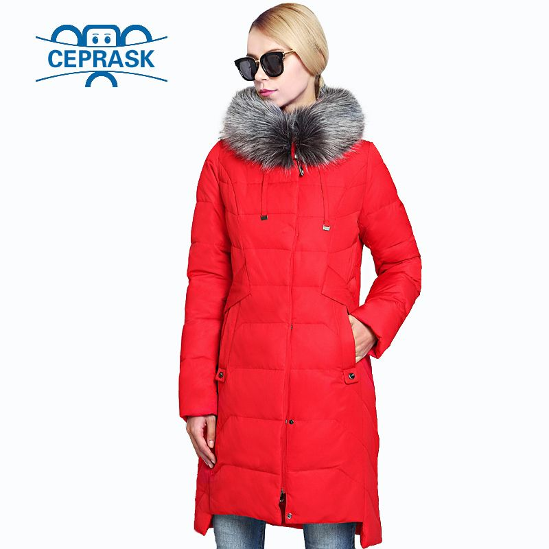 2018 New Winter Women's Jacket Plus Size Long Raccoon Fur Warm Women Coat High-quality Biological-Down Female Parkas CEPRASK