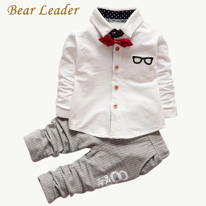 Bear Leader Baby Clothing Sets <font><b>Kids</b></font> Clothes Autumn Baby Sets <font><b>Kids</b></font> Long Sleeve Sports Suits Bow Tie T-shirts + Pants Boys Clothes